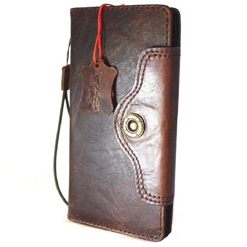 Genuine vintage leather case for samsung galaxy note 8 book wallet closure cover cards slots brown slim strap daviscase 2017