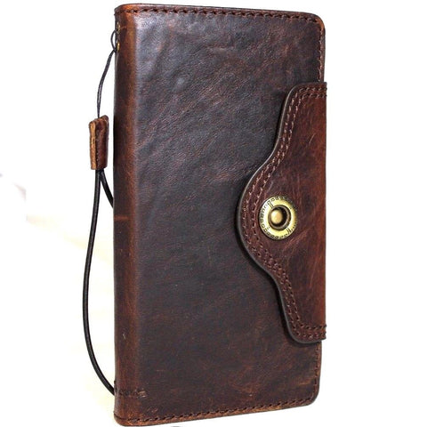 Genuine vintage leather case for Samsung Galaxy Note 8 book wallet closure cover cards slots brown slim strap daviscase