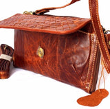 Genuine real leather woman Should bag brown purse clutch Vintage tote Handbag classic