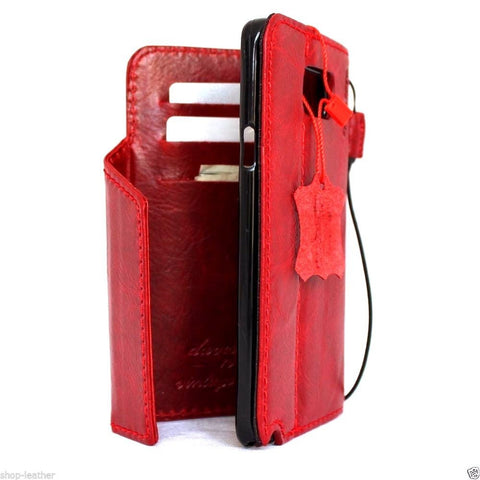 genuine vintage leather Case  for Samsung Galaxy note 5 book wallet luxury cover 5 slim daviscase Red