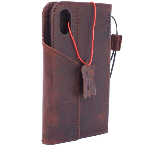 Genuine Leather Case for iPhone XS book wallet magnet closure cover Cards slots Slim vintage dark brown slim Daviscase 3D