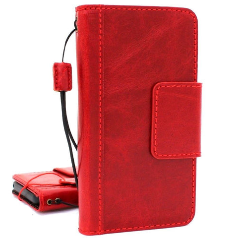 Genuine vintage leather Case for Samsung Galaxy S9 Plus book wallet Red wine cover cards slots Jafo daviscase