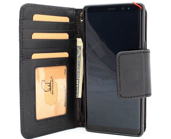 Genuine vintage leather case for samsung galaxy note 9 book wallet magnetic closure black cover cards slots slim rubber holder daviscase