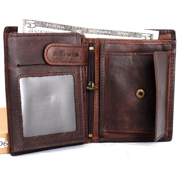 Men's Genuine Vintage Leather Wallet Italian Natural Skin Coin Money Pocket Purse Retro Style Luxury Brown Daviscase