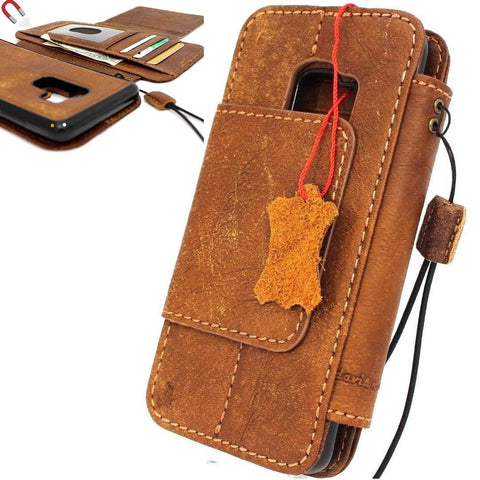 Genuine leather Case for Samsung Galaxy S9 Plus book wallet coverbCards Removable detachablebbslots id window vintage brown slim daviscase