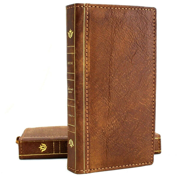 Genuine leather Case for Samsung Galaxy S10 Plus book wallet cover Cards wireless charging ID Window Jafo vintage Tanned slim daviscase s 10