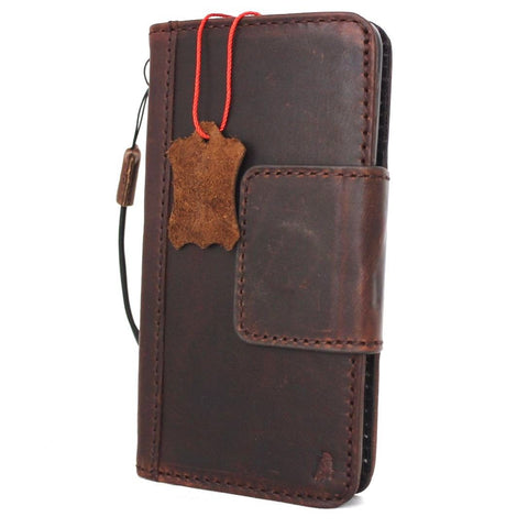 genuine real leather Case For Samsung Galaxy S8 book wallet magnet closure cover cards slots brown handmade s 8 daviscase