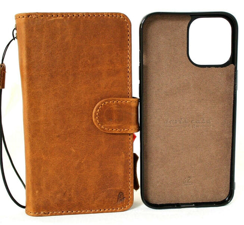 Genuine Natural Leather Case For Apple iPhone 12 Book Wallet Vintage Style Credit Cards Slots Soft Removable Magnetic Cover Tan Full Grain DavisCase
