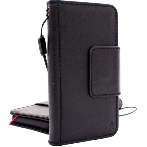 Genuine vintage leather Case for Samsung Galaxy S9 Plus book jafo wallet magnetic closure cover cards slots strap daviscase black