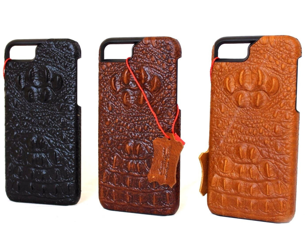 quality design 568ff cb68d Genuine REAL cow leather iPhone 8 plus case cover crocodile model wallet  credit holder book luxury
