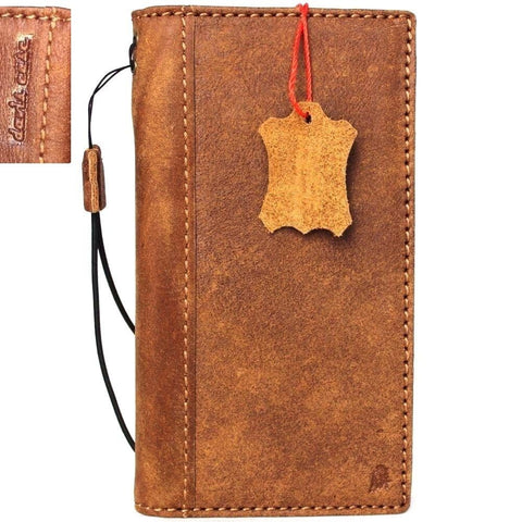 Genuine Real Leather Case for Apple iPhone 7 book wallet cover slim hand made cards slots vintage brown new daviscase