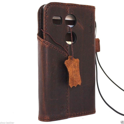 genuine italian leather hard Case for LG nexus 5x book wallet magnet cover dark brown cards slots slim daviscase