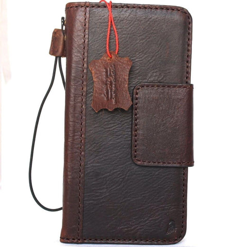 Genuine vintage leather case for samsung galaxy note 8 book wallet magnet closure cover cards slots brown slim daviscase