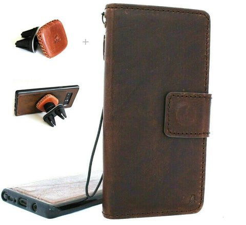 Genuine Vintage leather case for Samsung Galaxy Note 10 PLUS book wallet soft Removable holder slots rubber stand window detachable magnetic Dark brown + Magnetic Car Holder