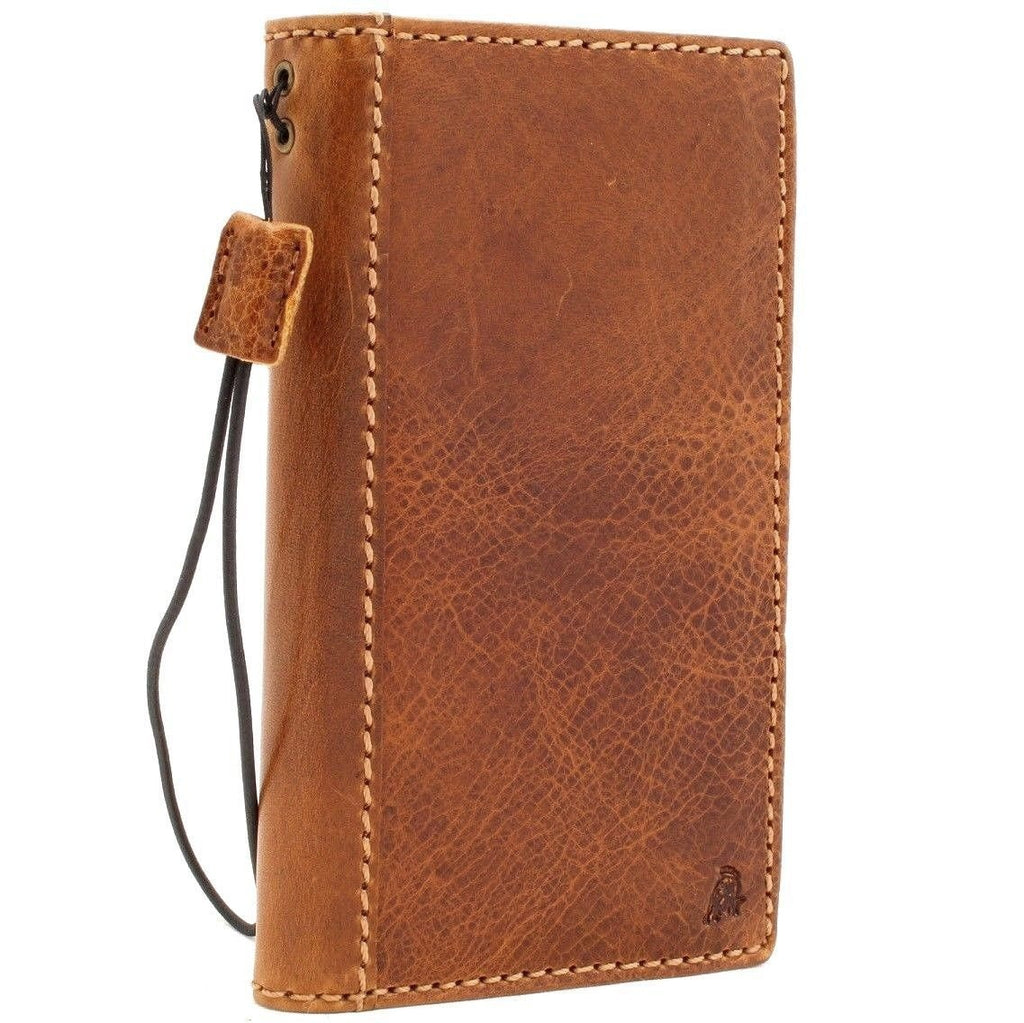 low priced 80963 eae28 Genuine real leather case for iphone 8 cover book wallet cards 7 handmade  slim Wireless charging davis classic Art Tan