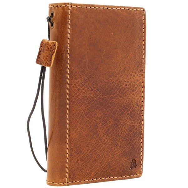 Genuine real leather case for iphone 8 cover book wallet cards 7 handmade slim Wireless charging davis classic Art Tan
