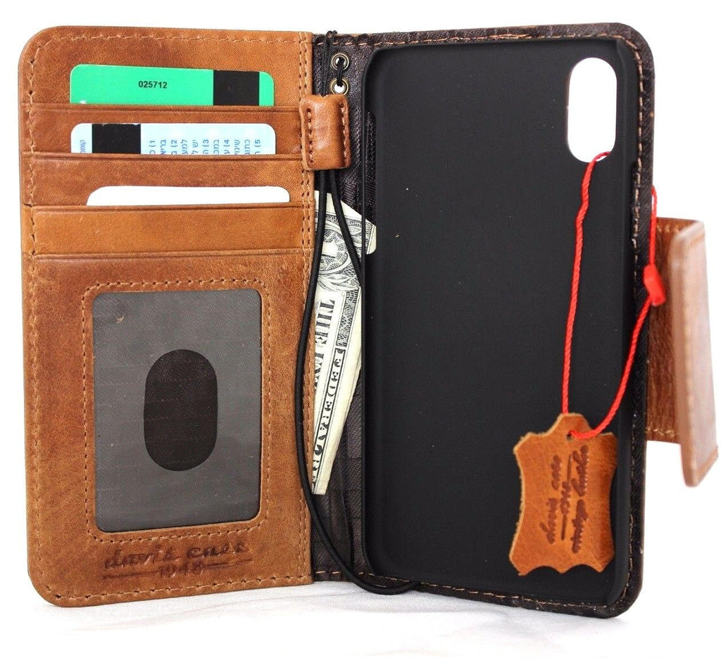 5a7c96a8e ... Genuine Leather Case for iPhone X book wallet magnet closure cover  Cards slots Slim vintage bright ...