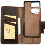Genuine Vintage Leather Case For Samsung Galaxy Note 20 Ultra 5G Top Grain Book Removable Wallet Magnetic closure Cover cards slots detachable Holder + Magnetic Car Mount Davis