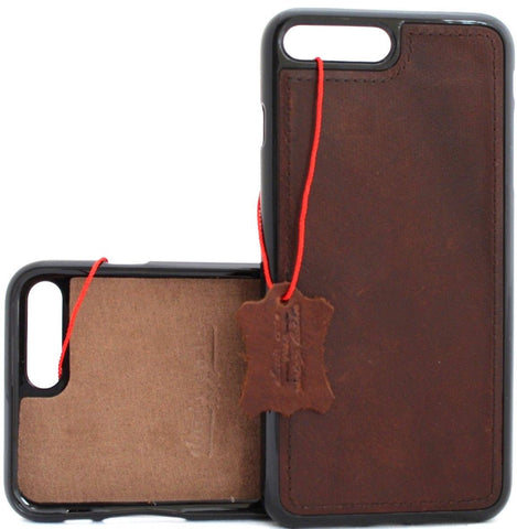 Genuine Slim Soft Leather case for iPhone SE 2 2020 Magnetic Cover Rubber Dark Brown Vintage Classic DavisCase