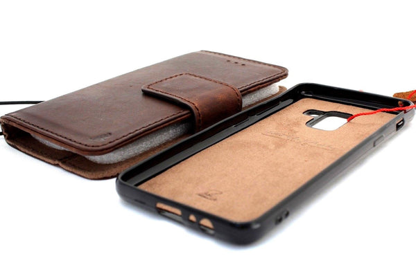 best sneakers 015da f3d3d genuine natural leather Case fit for Samsung Galaxy A8 book wallet Luxury  Removable cover slim daviscase