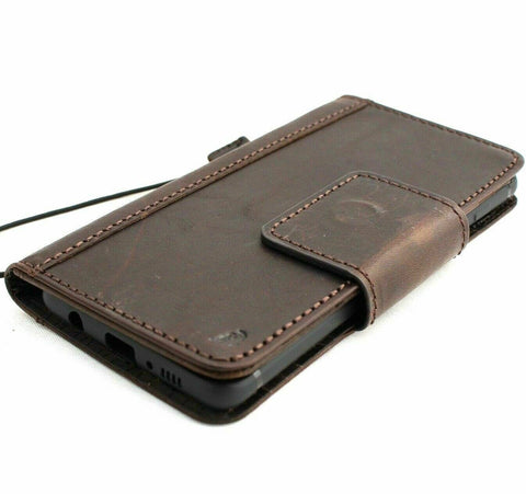 Genuine leather Case for Samsung Galaxy S10 lite book wallet cover Cards closure charging dark luxuey pro slim daviscase