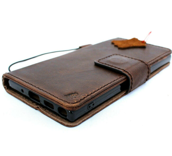 Genuine Vintage leather case for Samsung Galaxy Note 10 PLUS book wallet soft Removable holder slots rubber stand window detachable magnetic Dark brown