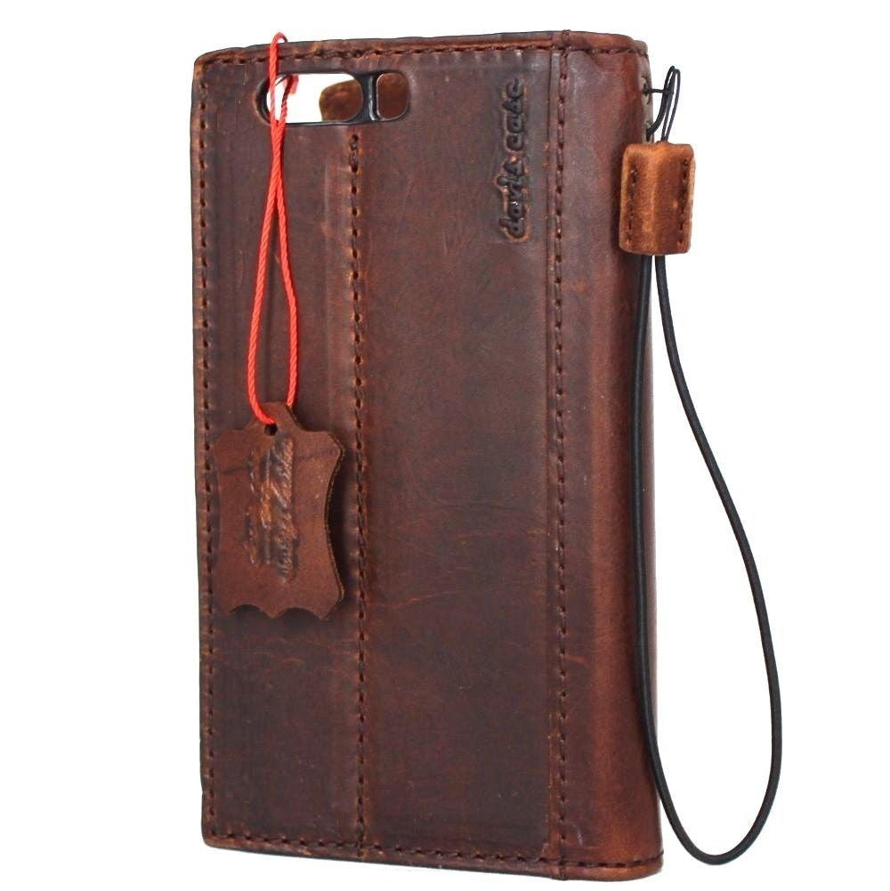 buy online 563bf 4e56f Genuine Real Leather Case for Huawei p10 plus Book Wallet cover slim Hand  made Retro brown Luxury cards slots daviscase