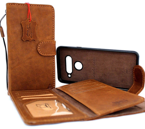 Genuine leather case for lg v40 ThinQ book wallet cover soft retro detachable cards slots slim magnetic holder jafo 48 design