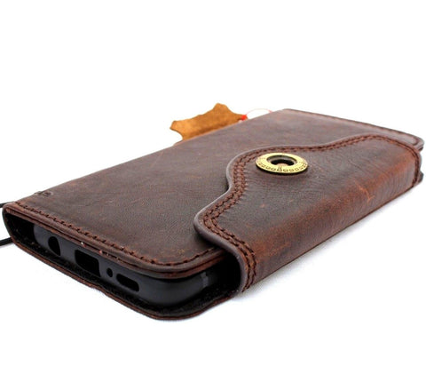 Genuine high quality natural leather Case for Samsung Galaxy S9 book Jafo design wallet handmade cover wireless chargeing Businesse daviscase Dark