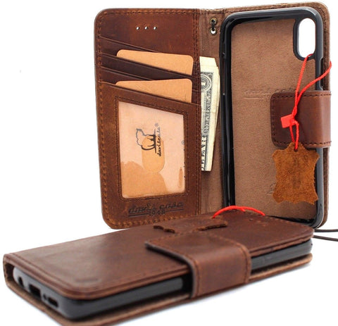 Genuine real leather for apple  iPhone XS MAX case cover wallet credit holder magnetic book tan Removable detachable prime holder slim Jafo