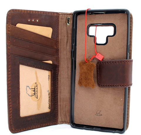Genuine leather case for samsung galaxy note 9 book wallet Removable cover soft vintage detachable cards slots slim magnetic holder daviscase