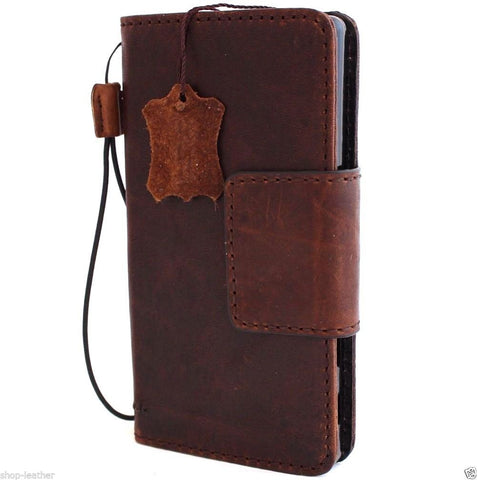 genuine vintage italian leather hard Case  for sony Xperia Z5 Premium book wallet 5 z handmade UK