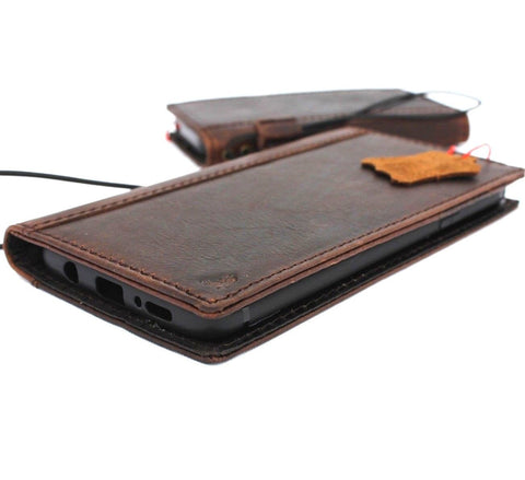 Genuine vintage leather Case for Samsung Galaxy S9 Plus book wallet cover cards slots daviscase Ready wireless charging custom stamp embossing