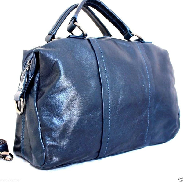 Genuine real leather bag for womans dark blue purse tote hobo lady handbag large daviscase