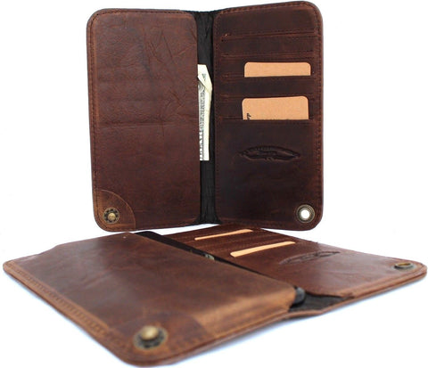 Genuine italian leather Case for galaxy note 8 book wallet closure cover cards slots daviscase brown thin