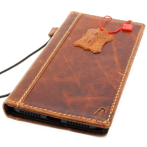 Genuine Leather Case for iPhone 8 Plus book wallet cover Cards slots Slim vintage handmade luxury Daviscase 7
