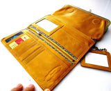 Genuine Real Leather Woman Purse cards slots wallet Clutch Coins Bag Designed skin Yellow daviscase