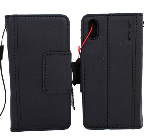Genuine Leather Case for iPhone XS MAX black wallet magnet closure cover Cards slots Slim vintage jafo 48 studio