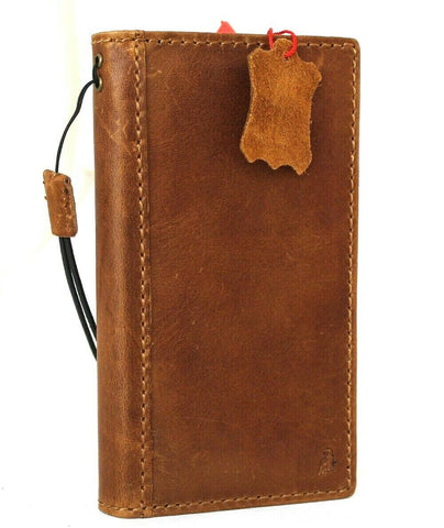 Genuine Natural Tan Leather Case For Apple iPhone 12 Book ID Window Wallet Vintage Credit Cards Slots Soft Cover Full Grain Slim DavisCase