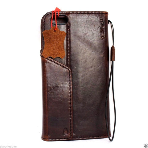 genuine vintage leather Case fit apple iphone 6 plus book wallet magnet cover brown cards slots slim 6s daviscase