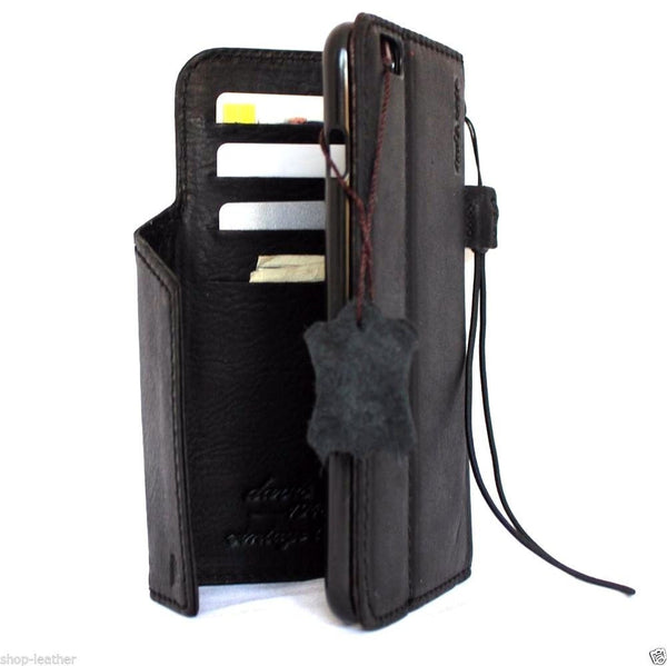 genuine leather case for iphone 6s plus cover 6  s book wallet band credit card id magnet business slim magnet black daviscase