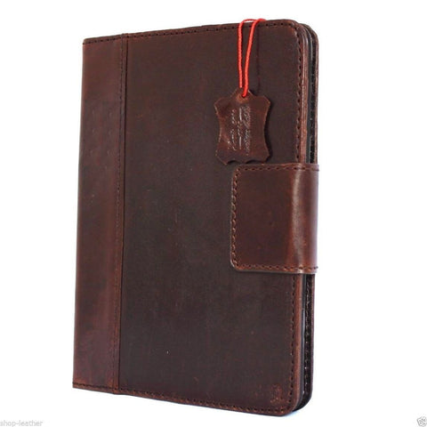genuine vintage Leather safe case fo apple iPad min 2 3 cover stand cards wallet