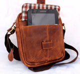 genuine vintage Leather Bag Messenger for iPad mini air 2 3 4 cross body brown new