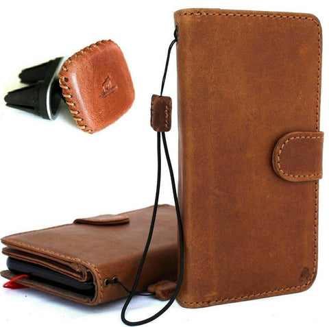 Genuine real leather for apple iPhone XS case cover wallet credit holder magnetic book Removable detachable designed holder slim soft + magnetic car holder