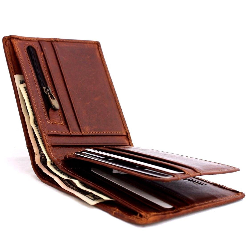 Wallet with Zipped Coin Section Oiled Leather Black or Brown Leather Purse