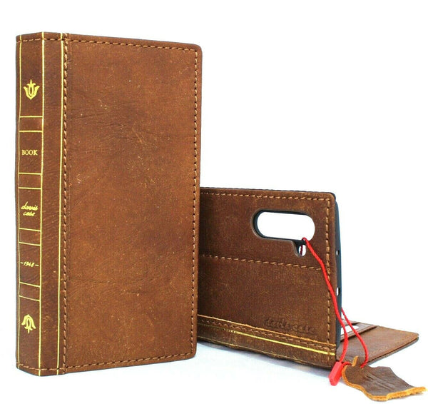 Genuine real leather case for samsung galaxy note 10 book bible wallet cover soft retro cards slots rubber stand wireless charging daviscase