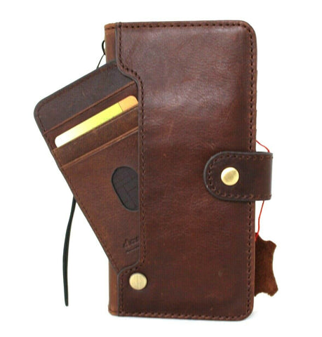 Genuine Top Grain leather Case for Samsung Galaxy S21 Ultra 5G book Jafo wallet handmade rubber holder cover wireless charger Business daviscase Dark