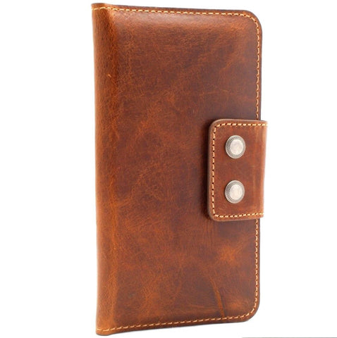 Genuine leather case for samsung galaxy S10 book s9 plus s8 iphone 7  6 wallet closure cover 8 cards slots slim Full daviscase