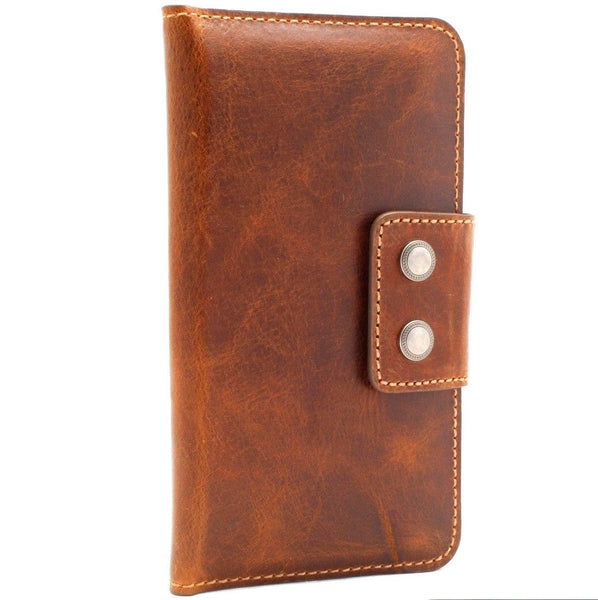 Genuine leather case for samsung galaxy 10 plus book s9 plus s8 iphone 7 wallet closure cover 8 cards slots slim daviscase s10 lite