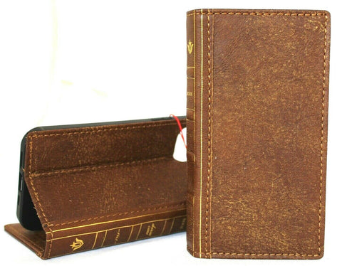 Genuine Full Tan Leather Case For Apple iPhone 12 Book Bible Design Wallet Vintage Credit Cards Slots Soft Cover Full Grain DavisCase